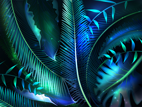 Realistic tropical leaves with neon glow