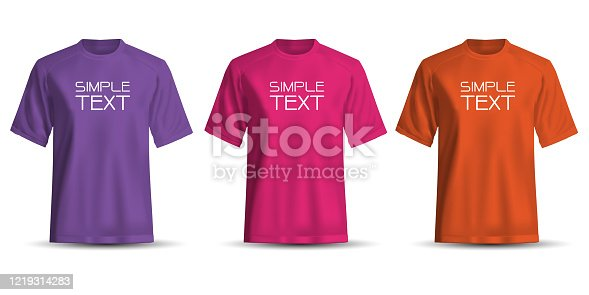 istock Realistic T-Shirt short sleeve front view purple pink orange set collection and simple text on white background vector illustration. 1219314283