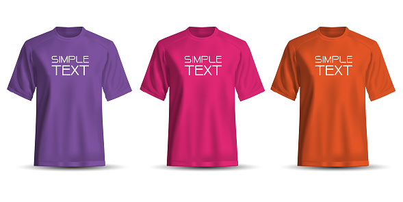 Realistic T-Shirt short sleeve front view purple pink orange set collection and simple text on white background vector illustration.