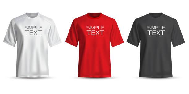 stockillustraties, clipart, cartoons en iconen met realistische t-shirt wit rood zwart op een witte achtergrond vectorillustratie. - t shirt