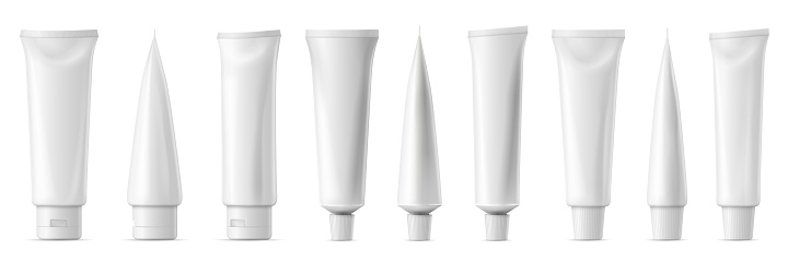 Realistic tube mockup. White plastic tuba for toothpaste, cream, gel and shampoo. Blank packaging front and side view vector mockup