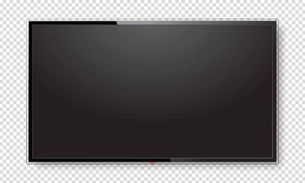 Realistic TV screen mock up Realistic TV screen. Modern stylish lcd panel, led type. Large computer monitor display mockup. Blank television template. Graphic design element for catalog, web site, as mock up. Vector illustration liquid crystal display stock illustrations