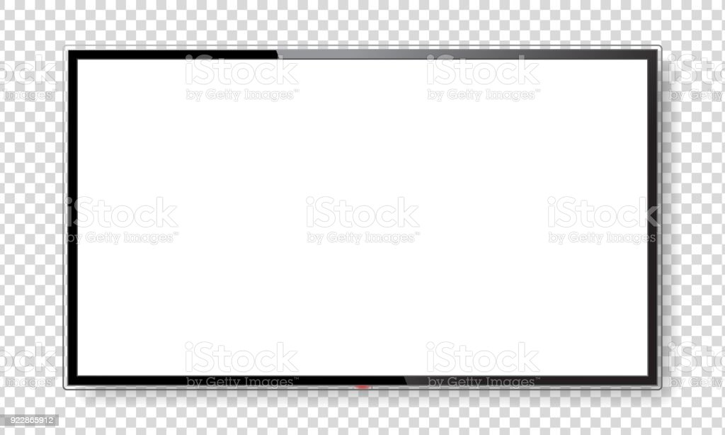 Realistic TV screen mock up vector art illustration