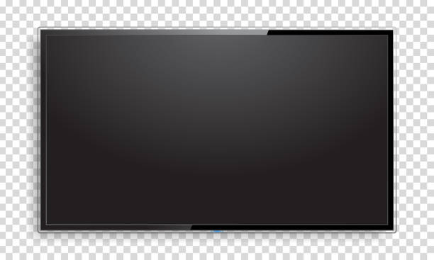 realistische fernsehbildschirm mock-up - bildschirme stock-grafiken, -clipart, -cartoons und -symbole