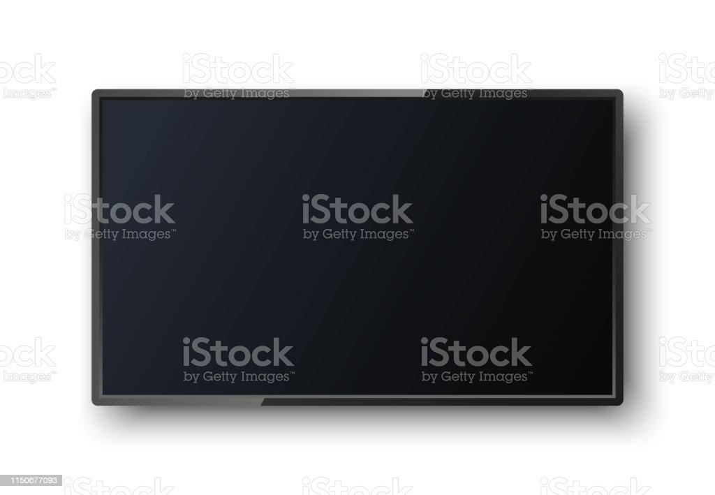 Realistischer TV-Bildschirm mit Schatten auf weißem Hintergrund. Moderne leere Leinwand lcd, smart geführt. Mocken Sie die Vorlage für Ihr Design. Weiter leerer Rahmen. - Lizenzfrei Ausrüstung und Geräte Vektorgrafik