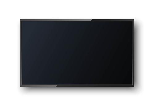Realistischer Tvbildschirm Mit Schatten Auf Weißem Hintergrund Moderne Leere Leinwand Lcd Smart Geführt Mocken Sie Die Vorlage Für Ihr Design Weiter Leerer Rahmen Stock Vektor Art und mehr Bilder von Ausrüstung und Geräte