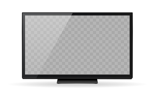 Realistic TV with transparent screen. Realistic plasma, TV, televisor, boob tube. Realistic and detailed device mockup. For mobile concept, web design, print media and interfaces.