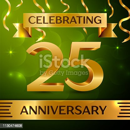 Realistic Twenty five 25 Years Anniversary Celebration Design. Gold confetti and ribbon on green background. Colorful Vector template elements for your birthday party