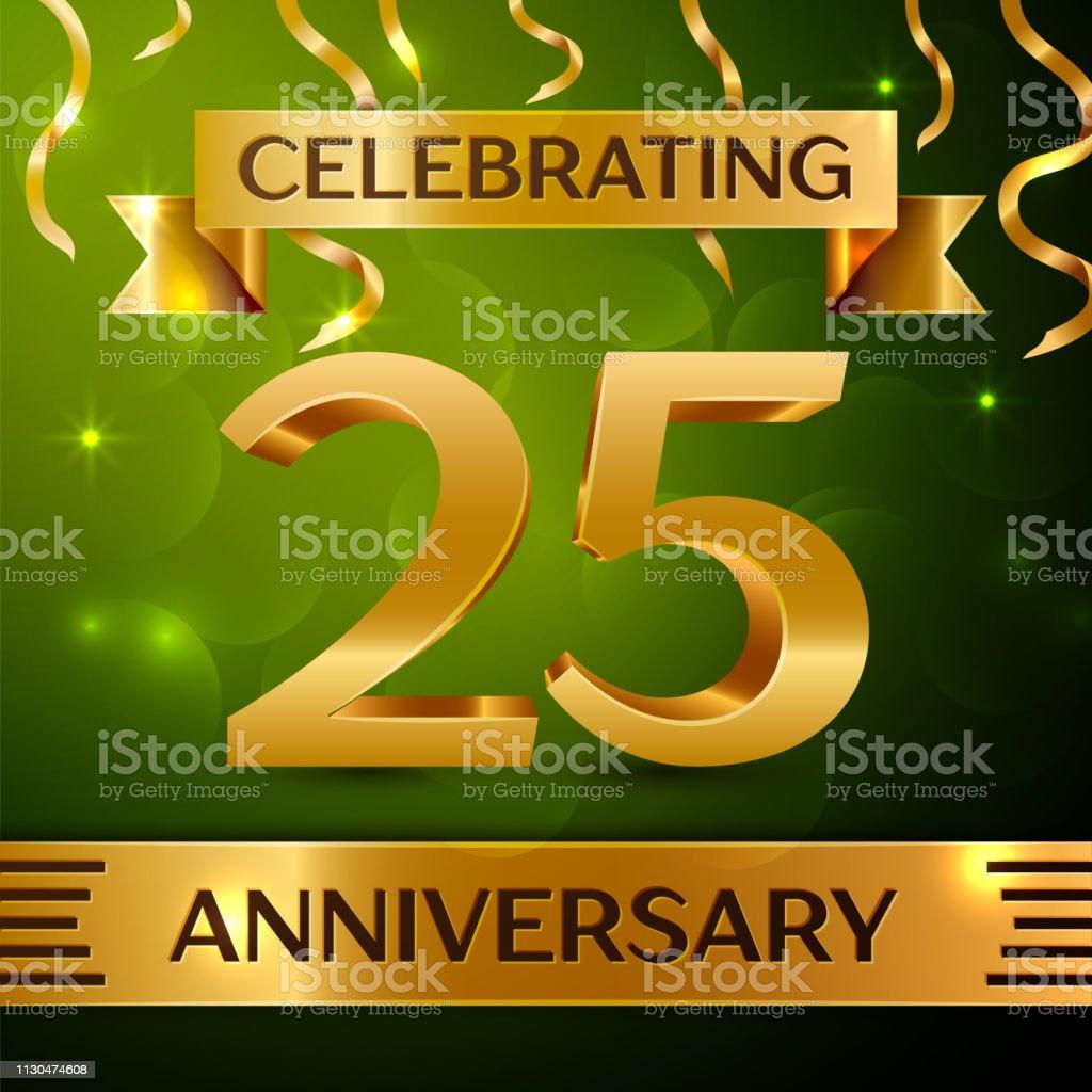 Realistische zwanzig fünf 25 Jahre Jubiläum Feier Design. Gold Konfetti und Band auf grünem Hintergrund. Bunte Vektorelemente Vorlage für deine Geburtstagsparty – Vektorgrafik