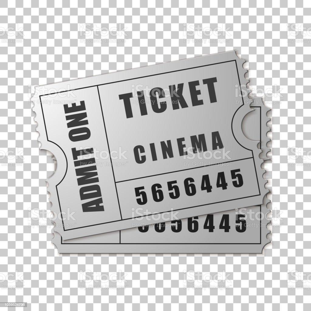 現実的な 2 銀透明な背景に映画チケット孤立したオブジェクトです映画館