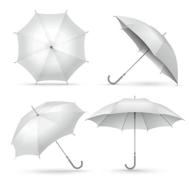 illustrazioni stock, clip art, cartoni animati e icone di tendenza di realistic umbrella. white rain or sun open umbrellas. isolated vector illustration - mockup outdoor rain