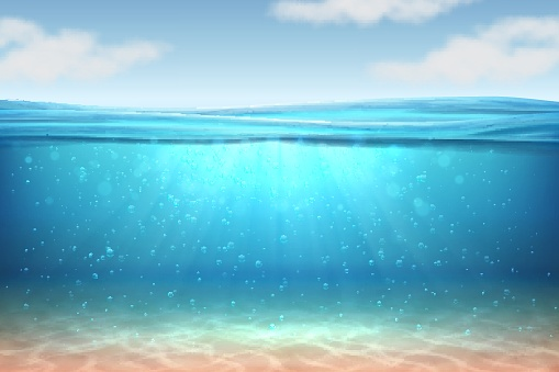 Realistic underwater background. Ocean deep water, sea under water level, sun rays blue wave horizon. Surface 3D vector concept clipart