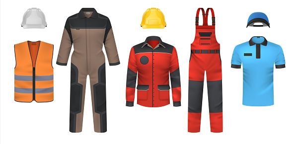 Realistic uniform. Workwear clothes mockup. Jumpsuit and t-shirt, bright jacket or vest. Safety outfit with helmet. Clothing for courier and workman. Vector professional garments set