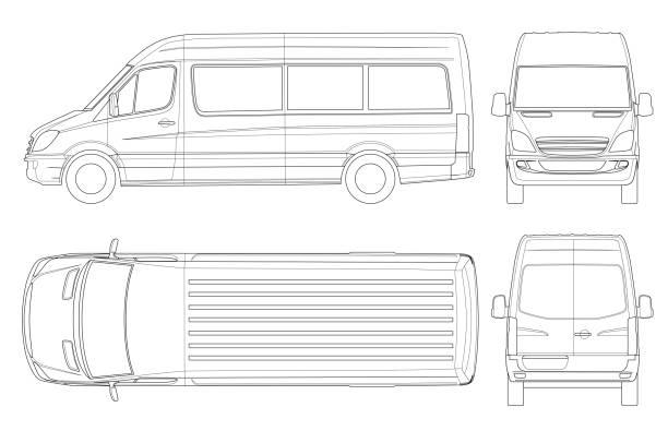 realistische van vorlage in umrissen. isolierte pkw mini-bus für corporate identity und werbung. - autotransporter stock-grafiken, -clipart, -cartoons und -symbole