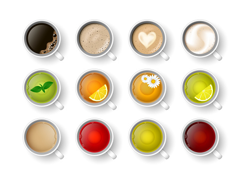 Realistic vector 3d cup of hot beverage set. Teacup with green, black lemon tea , mint, herbal chamomile tea, rooibos, Masala tea and coffee assortment cappuccino, latte, espresso, americano top view