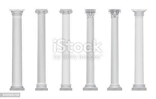 Realistic vector ancient greek rome column capitals