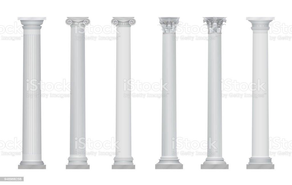 Realistic vector ancient greek rome column capitals set. vector art illustration