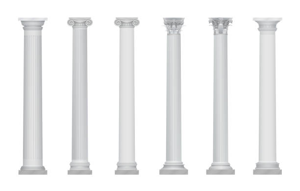 Realistic vector ancient greek rome column capitals set. Realistic vector ancient greek rome column capitals classical greek stock illustrations