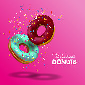Tasty strawberry donut, sprinkles falling from top in 3d illustration isolated on pink background