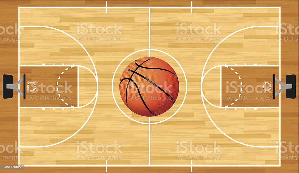 Realistic Vector Basketball Court and Ball vector art illustration