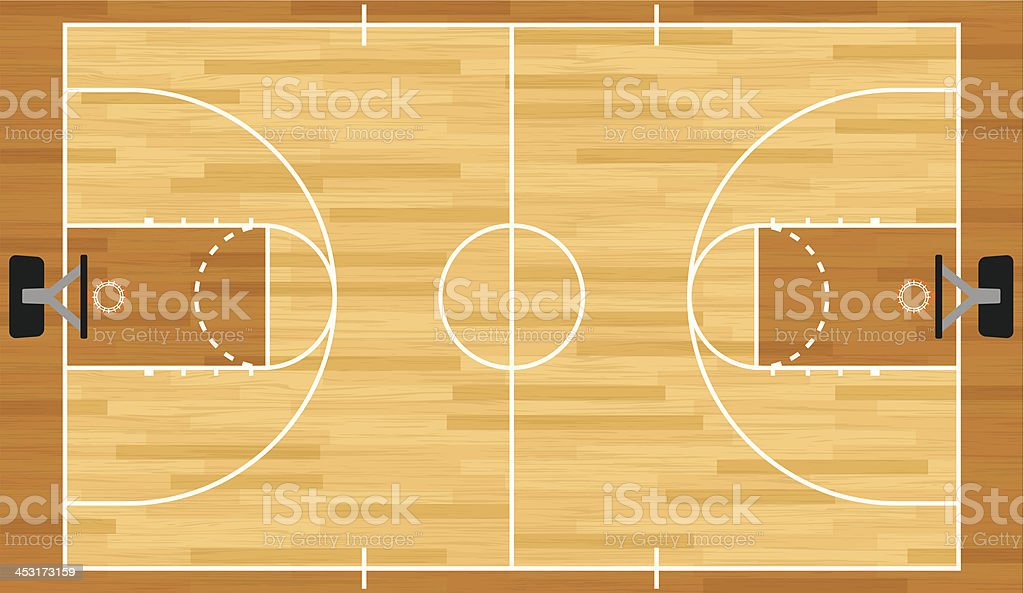 Illustration réaliste terrain de basket-ball - Illustration vectorielle