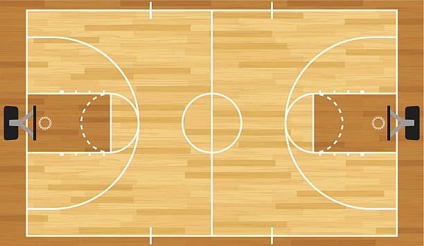 stockillustraties, clipart, cartoons en iconen met realistic vector basketball court - speelveld