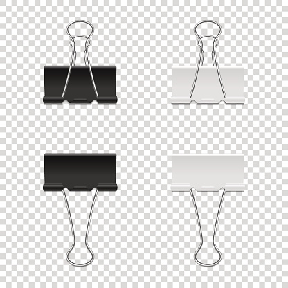 Realistic vector binder clip icon set isolated on transparent backgraund. Design tamplate, mockup in EPS10.
