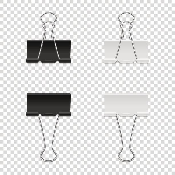 현실적인 벡터 바인더 클립 아이콘에 고립 된 투명 한 backgraund를 설정합니다. tamplate, eps10에 이랑 디자인. - 종이 클립 stock illustrations