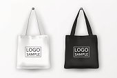 Realistic vector black and white empty textile tote bag icon set. Closeup isolated on white background. Design templates for branding, mockup. EPS10