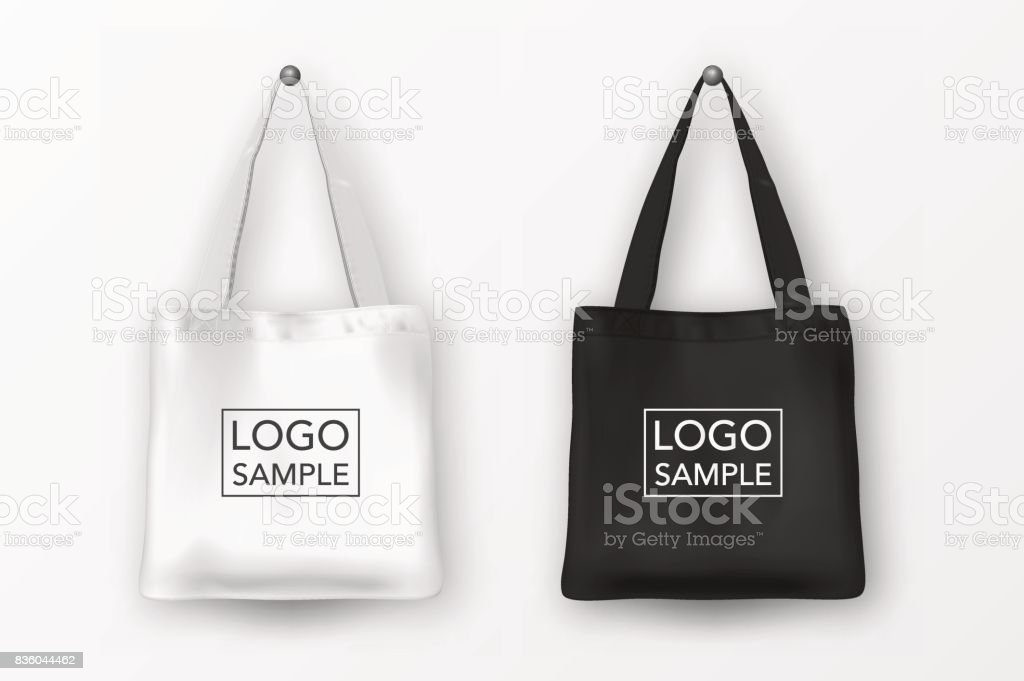Realistic vector black and white empty textile tote bag icon set. Closeup isolated on white background. Design templates for branding, mockup. EPS10 vector art illustration