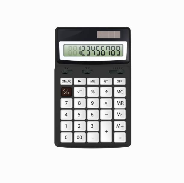 illustrazioni stock, clip art, cartoni animati e icone di tendenza di realistic vector black calculator with white buttons isolated on white background. - calcolatrice