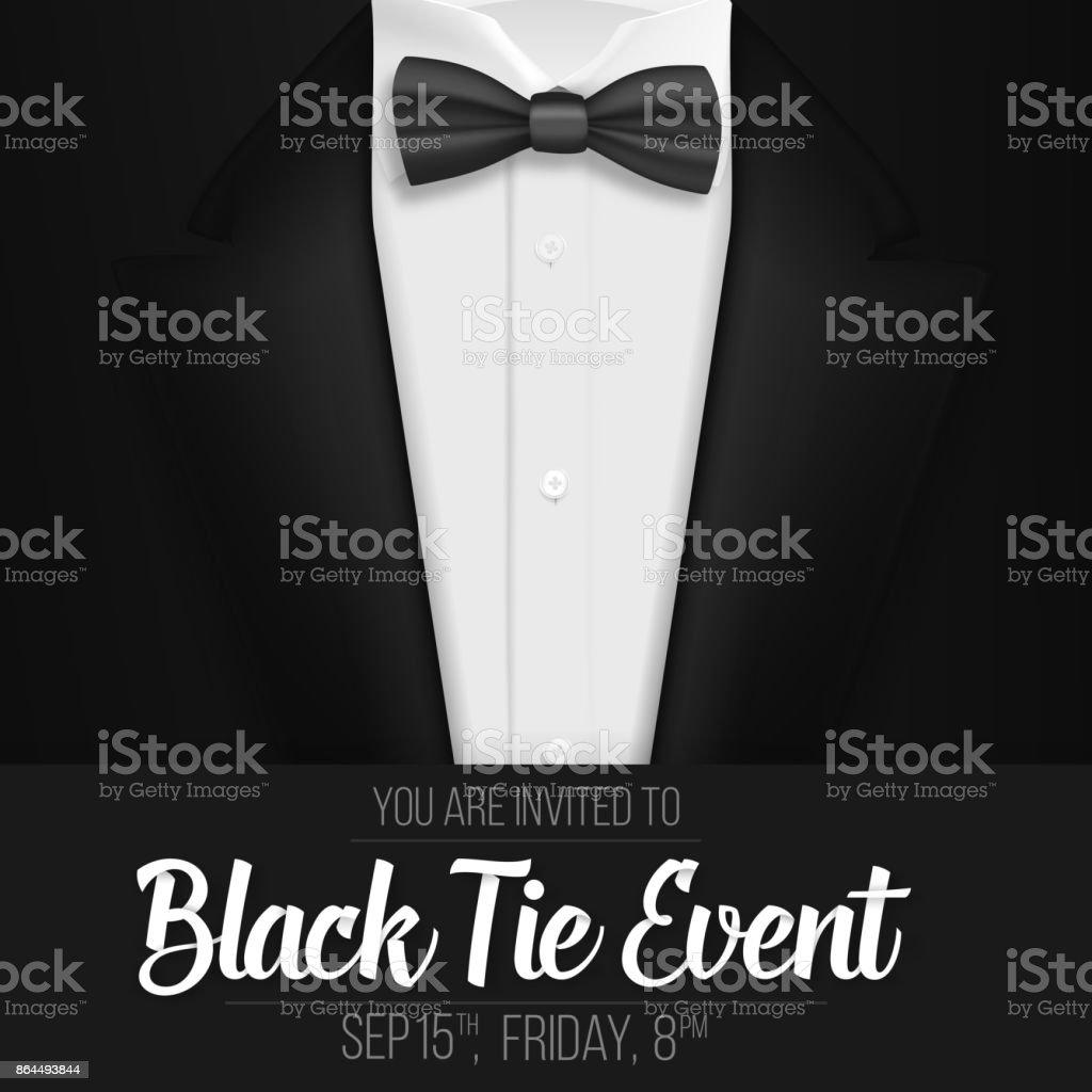 realistic vector black suit black tie event invitation template