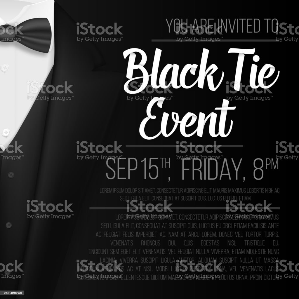 Realistic Vector Black Suit. Black Tie Event Invitation Template. Vector Mens Suit with Bow Tie