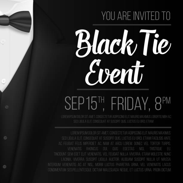 Realistic Vector Black Suit. Black Tie Event Invitation Template. Vector Mens Suit with Bow Tie Illustration of Realistic Vector Black Suit. Black Tie Event Invitation Template. Vector Mens Suit with Bow Tie formalwear stock illustrations