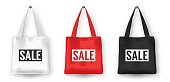 Realistic vector black, white and red empty textile shopping tote bag icon set, with word SALE. Closeup isolated on white background. Design templates for advertise, branding, mockup. EPS10
