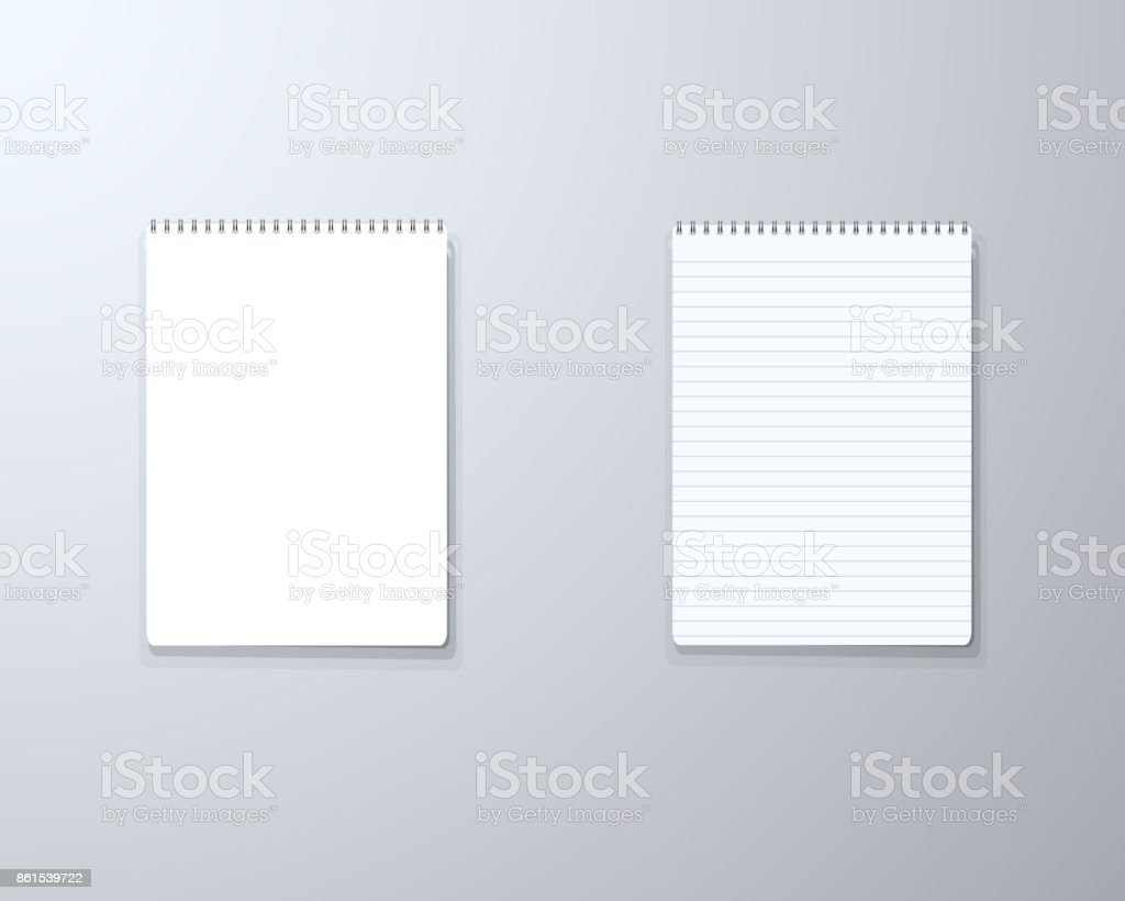 realistic vector blank notepad textbook icon vector notepad template