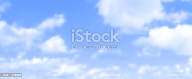 istock Realistic vector blue sky with white clouds illustration 1347146669