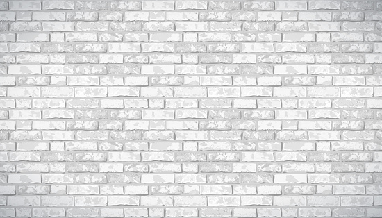 Realistic Vector brick wall pattern horizontal background. Flat wall texture. White textured brickwork for print, paper, design, decor, photo background, wallpaper.