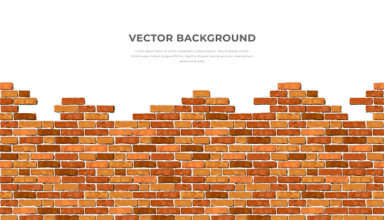 Realistic Vector broken horizontal brick wall background with text. Destroyed flat red wall texture. Brown textured brickwork for print, design, decor, advert, banner, flyer.