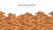 istock Realistic Vector broken horizontal brick wall background with text. Destroyed flat red wall texture. Brown textured brickwork for print, design, decor, advert, banner, flyer 1277097474