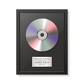 Realistic vector cd and label in glossy black frame icon closeup isolated on white background. Single album disc award. Design template. Stock vector mockup. EPS10