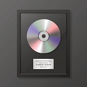 Realistic vector cd and label in glossy black frame icon closeup isolated on black background. Single album disc award. Design template. Stock vector mockup. EPS10