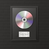 Realistic vector cd and label in glossy black frame icon closeup on black brick wall background. Single album disc award. Design template. Stock vector mockup. EPS10