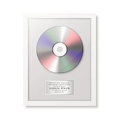 Realistic vector cd and label in glossy white frame icon closeup isolated on white background. Single album disc award. Design template. Stock vector mockup. EPS10