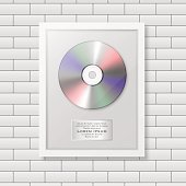 Realistic vector cd and label in glossy white frame icon closeup on white brick wall background. Single album disc award. Design template. Stock vector mockup. EPS10