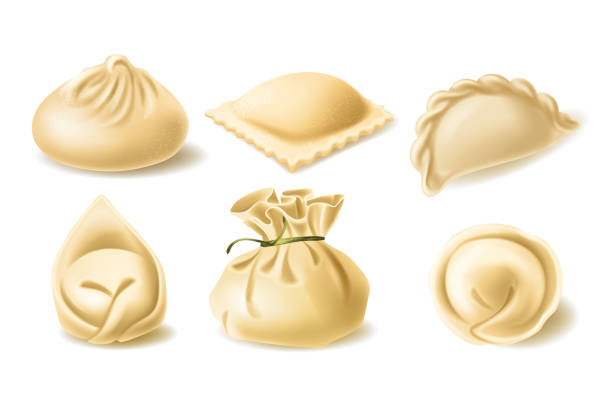 Realistic vector clipart of different dumplings Set of different dumplings, pelmeni, wonton, tortellini, khinkali, manti, ravioli, vector realistic illustration. Traditional asian and european cuisine, dough stuffed with meat or vegetables tortellini stock illustrations