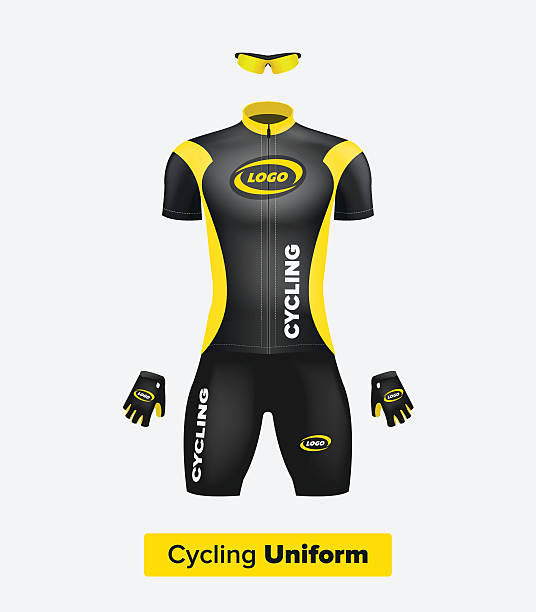 realistic vector cycling uniform template. black and yellow. - 制服 幅插畫檔、美工圖案、卡通及圖標