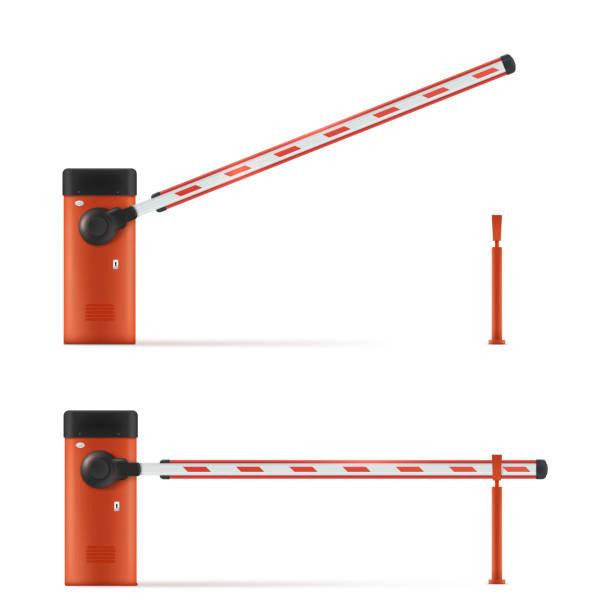 ilustrações de stock, clip art, desenhos animados e ícones de realistic vector detailed illustration of open and closed car barrier. barrier in the parking lot - portão