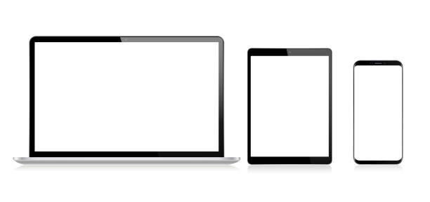 bildbanksillustrationer, clip art samt tecknat material och ikoner med realistisk vector digital tablet, mobil telefon, smart telefon och laptop. moderna digitala enheter - ipad