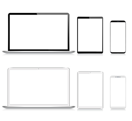 Realistic Vector Digital Tablet, Mobile Phone, Smart Phone and Laptop. Modern Digital Devices. Black and White color